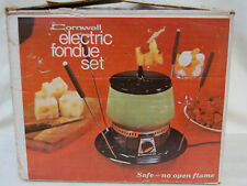Vintage Electric Cornwall Avocado Metal Fondue Set with Lid, 10 Forks & Box 5234