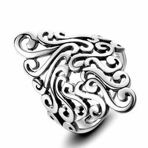 Boho 925 Silver Vintage Punk Band Cloud Hollow Special Design Fashion Ring !!