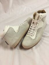 Freeman Plat COURT MID Men's Leather Boot SNEAKERS Shoes Size 10 Cream EUR 43