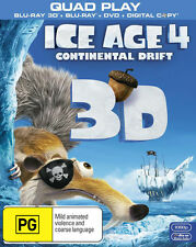 ICE AGE 4 - Continental Drift  3D Blu ray ( QUAD Play ) ( NEW )