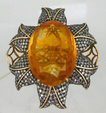 Victorian Look 925 Silver Cocktail Ring 4.40cts Rose Cut Diamond Citrine Antique