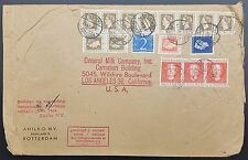 Netherlands 1949 Multistamp Commercial Cover Rotterdam to Los Angeles USA