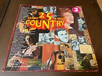 25 Country Stars and Hits~2LP~VG+ Johnny Cash, Patsy Cline, George Jones, Twitty