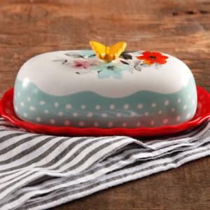 "The Pioneer Woman Flea Market Floral 6.4"" Butter Dish, Each"