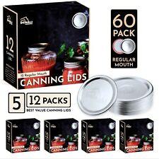 Denali Lids | Premium Canning Lids for Ball Mason Jars | Silver | 60 Pack