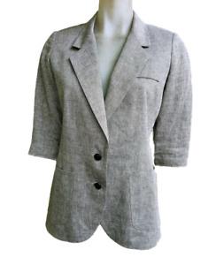 SMYTHE LES VESTS Sparkly Metallic thread Linen Blazer w/Scrunch Sleeves sz 10