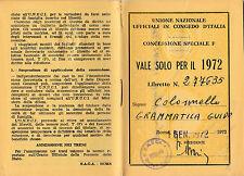 TESSERA UNIONE NAZIONALE UFFICIALI IN CONGEDO 1972 COLONNELLO TORINO 12-52BIS