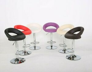 Evre Bar Stool Height Adjustable Swivel Faux Leather for Kitchen Pubs Barstools