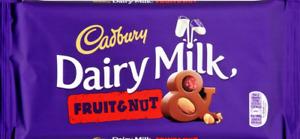 CADBURY DAIRY MILK FRUIT & NUT 200 G bar British  UK recipe chocolate UK SELLER