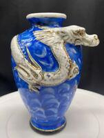 """Antique? Porcelain BLUE Hand Painted VASE 3D Dragon head 6"""" H X 4"""" w"""