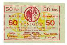 Poland Local Currency Gmina Bismarkhuta 50 Fenigow 9.05. 1921 UNC