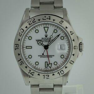 Rolex Explorer II Ref No 16570 Men's Stainless Steel GMT White Dial 1999