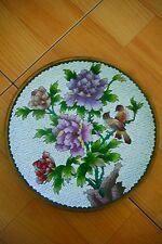 """Vintage Chinese 10-1/4"""" White Cloisonne Plate with Peonies & Birds"""