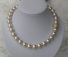 Perlenkette creme weiss + goldfarbigem Magnetverschluss - mit Kristall - neu!