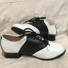 Shoe Saddle Black And White Adult Women/'s Lace Up Saddle Ellie Shoes