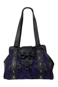 Purple Punk Rockabilly Flocked Goth Bat Bow Maplesage Handbag Bag BANNED Apparel