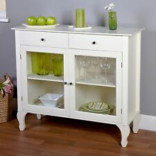 Buffet Sideboard Server Storage Cabinet Glass Doors Table Antique White China