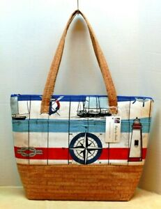 Women's XL Nautical Handbag 8 Pockets Zippered Cork Base & Handles Hand Made USA