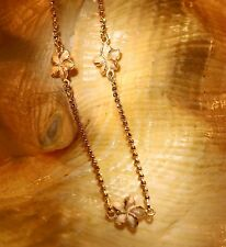 "9mm Hawaiian Solid 14k Rose Gold Matted Plumeria DC Bead Chain Bracelet 7"" #3M"