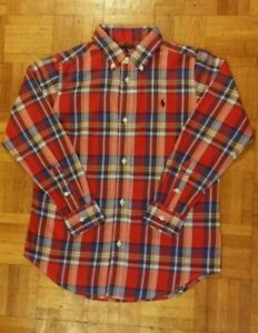 Boys Ralph Lauren Plaid Shirt size L 14-16 years Red Check LS Small Pony New