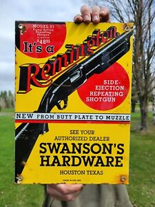 VINTAGE DATED 1931 REMINGTON FIREARMS PORCELAIN SIGN WINCHESTER HARDWARE AMMO
