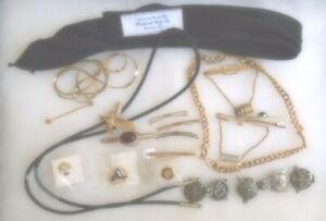 fl630g - Vintage Men`s Jewelry (25+ pcs.) ~ Tie Bars-Clips-Chains-Cuffs-Pins