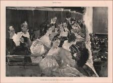BEAUTIFUL LADIES in the OPERA BOX, larger Antique Print by Wenzell, 1895
