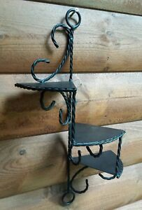 Vintage Wrought Iron Wall Shelf Metal Braid 3 Tier Ornate Victorian Spiral Stair