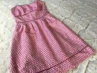 ABS Allen Schwartz Pink Polka Dot Prom Night Party Dress Size 6 Strapless