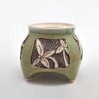 Green Crackle Glaze Footed Floral Vase Container Signed