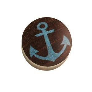 Wood Plug Anchor Crushed Turquoise Stone Inlay Blue Sono Wood Dark Brown