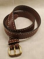 Mens' Belt Cole Haan BROWN LEATHER WITH ACCENT STITCHING sz 40 BRASS BUCKLE