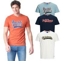 Jack & Jones Mens Logo Printed Short Sleeve T Shirts Crew Neck Summer Tee Tops