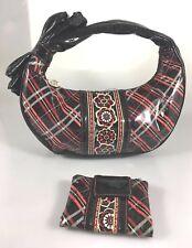 Vera Bradley Frill Black Red Plaid Vinyl Hobo Shoulder Bag Handbag + Wallet