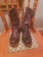 SENDRA Brown Distressed Crackled Leather  Women's Boots Size 6.5