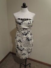 Kay Unger New York floral jacquard jeweled strapless sheath dress 6/8 cocktail