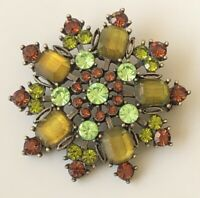 Vintage  glass Flower Brooch Pin