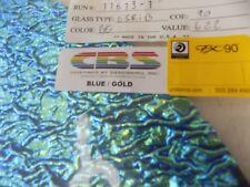 "Dichroic Glass Sheet:CBS Blue/Gold on zrippled Textured Black 90COE 3""Sq"