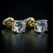 Small 14K Gold Princess Cut CZ Round Screw Back Sterling Silver Stud Earrings