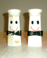 Vintage LEGO Salt and Pepper Shakers Whimsical Chefs Bowtie