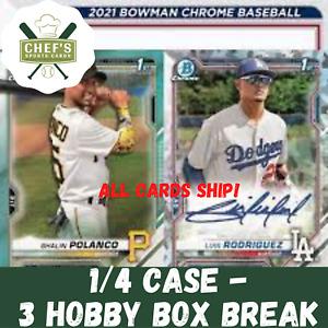 PITTSBURGH PIRATES - 2021 BOWMAN CHROME BASEBALL - 1/4 CASE (3BOX) BREAK #4