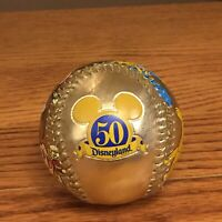 Disneyland 50th Anniversary Golden Baseball Mickey Donald Goofy Pluto Collectibl