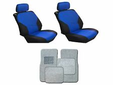 Blue & Black Seat Covers with Silver Carpet floor Mats for Cars SUVS- 8 PC Combo