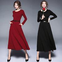 2018 spring women's fashion temperament long sleeve high waist A-line Dress chic