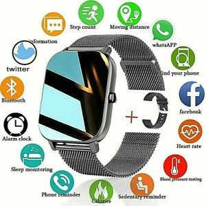 Smart Watch Blood Oxygen Waterproof Touch Monitor Heart Rate Fitness Android iOS