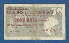 L'AJUNTAMENT DE MOLINS DE LLOBREGAT -- 50 CENTIMOS ( 1937 ) -- BC- -- 1ª EMISION
