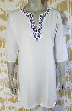 WORLD MARKET SIZE SMALL WOMEN'S WHITE FLORAL EMBROIDERED TUNIC SWIM COVER UP