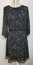 Lauren Conrad Women's 12 Black White Star 3/4 Sleeve Peter Pan Collar Dress
