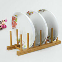 Wooden Drainer Plate Stand Wood Dish Rack Cups Display Holder Kitchen Supplies