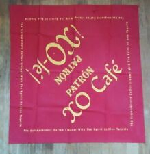 """Patron Tequila XO Cafe XO-le! Approx. 26"""" X 26"""" Yellow Writing on Red Cloth Used"""